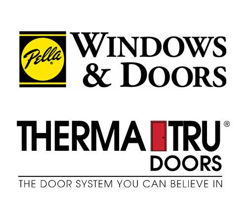 Pella Windows and ThermaTru Doors logos